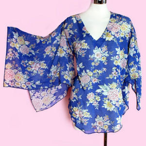 STEVIE NICKS style HIPPIE STYLE SCARF BLOUSE blue